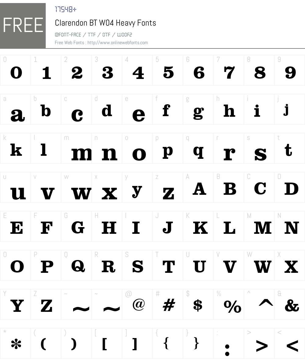 Clarendon BT Font Screenshots