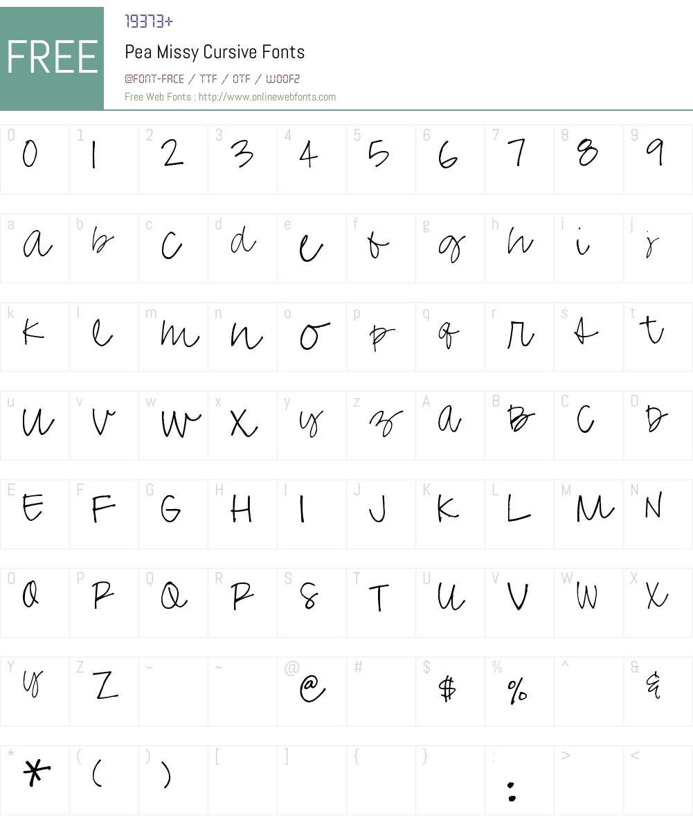 Pea Missy Cursive Font Screenshots