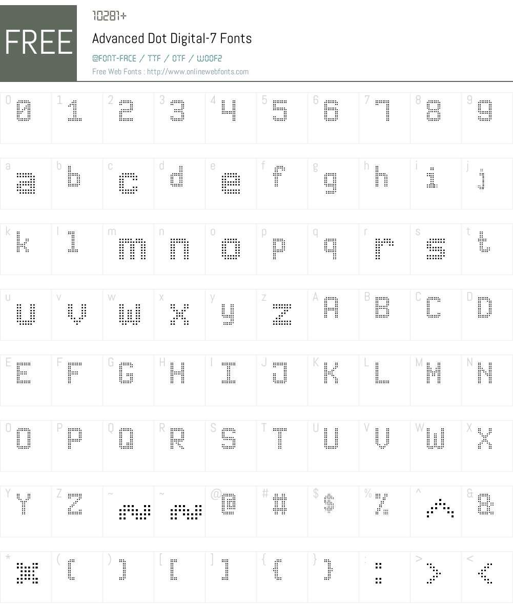 Advanced Dot Digital-7 Font Screenshots
