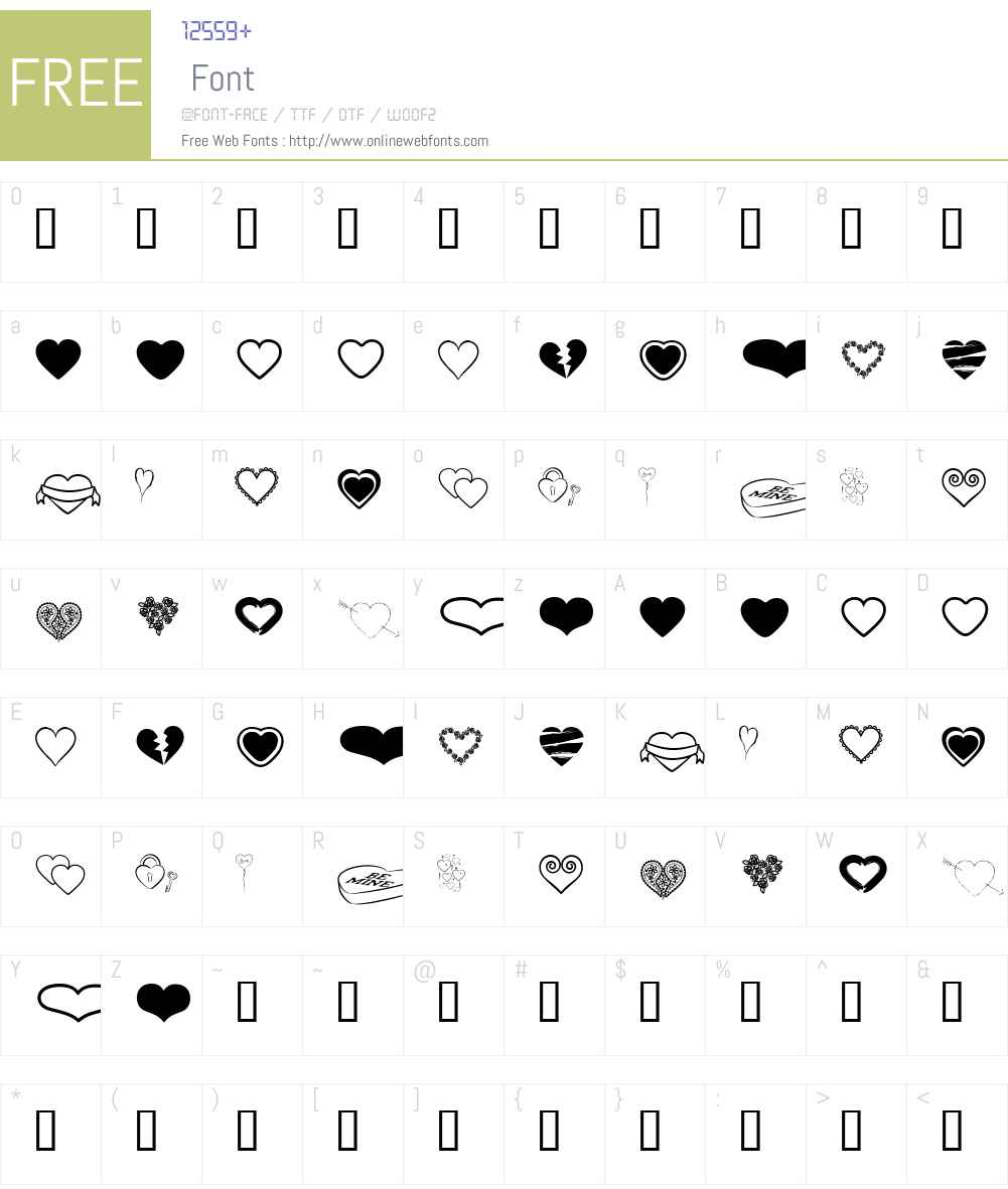 heARTs Font Screenshots