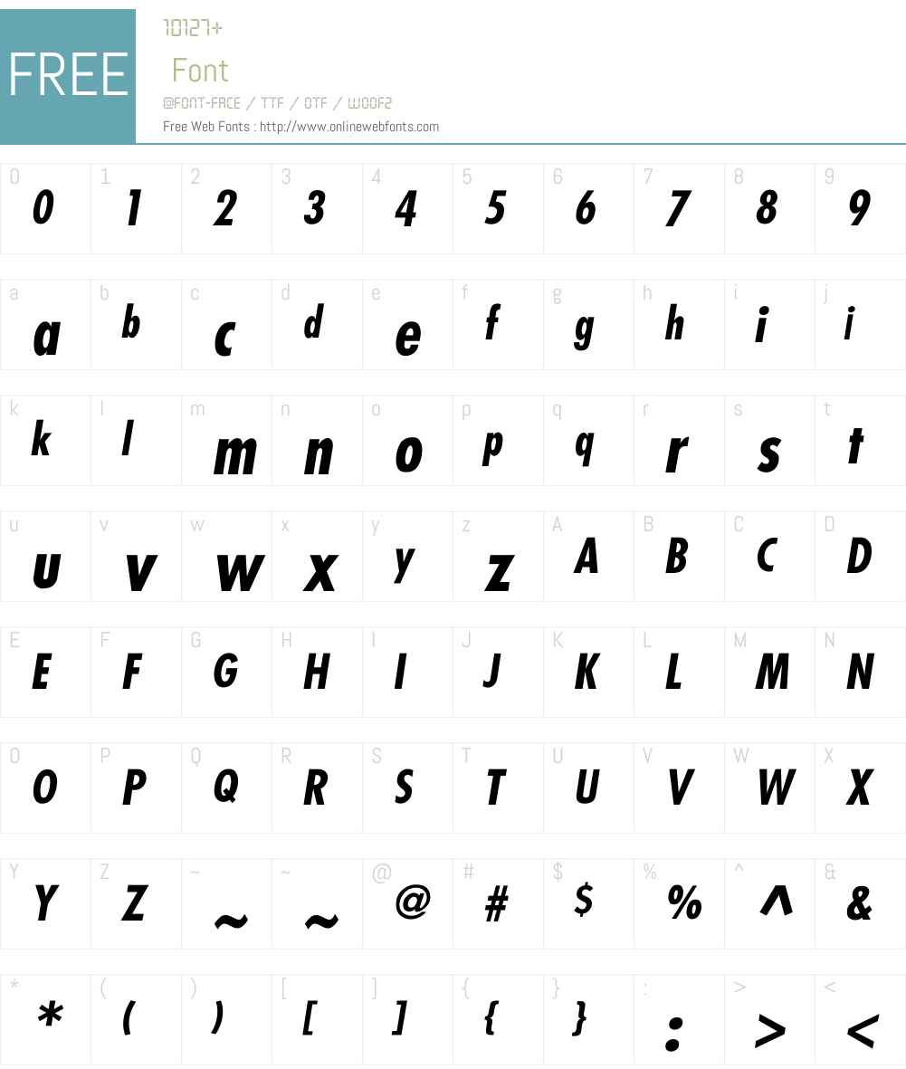 Futura-Condensed-BoldItalic Font Screenshots