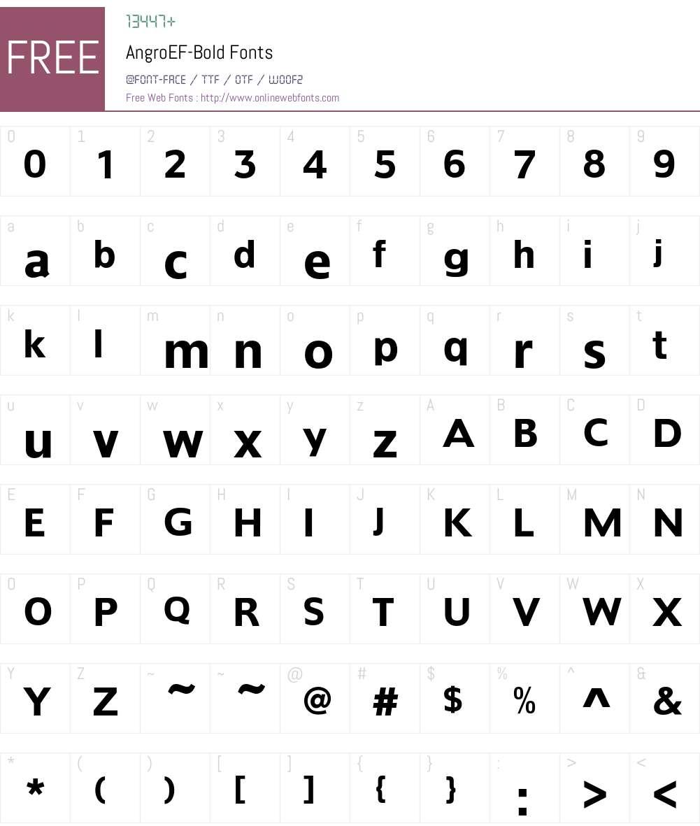 AngroEF-Bold Font Screenshots