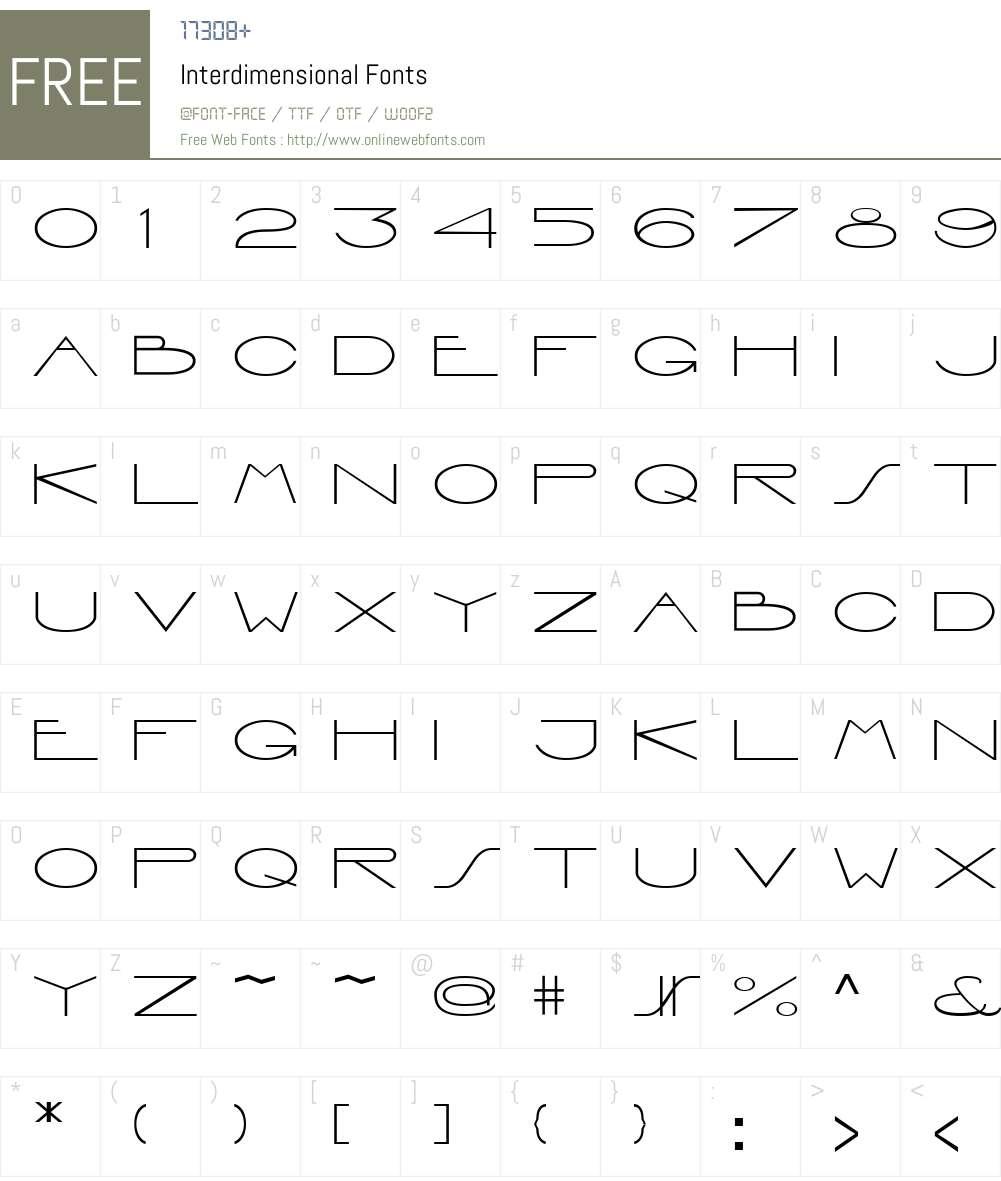 Interdimensional Font Screenshots