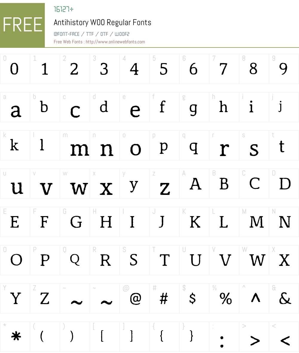 AntihistoryW00-Regular Font Screenshots