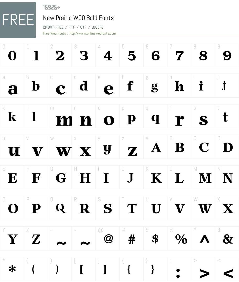 NewPrairieW00-Bold Font Screenshots