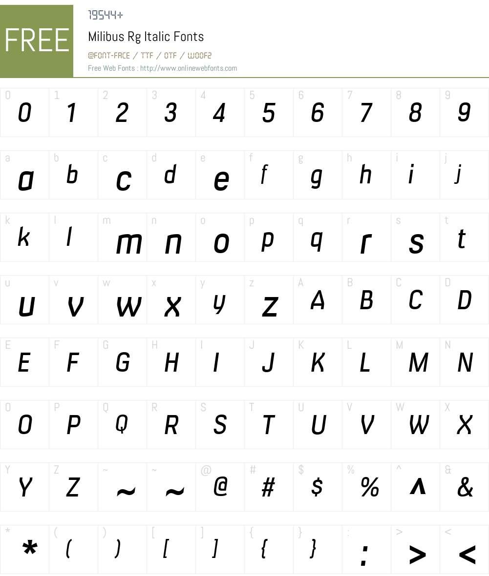 Milibus Rg Font Screenshots