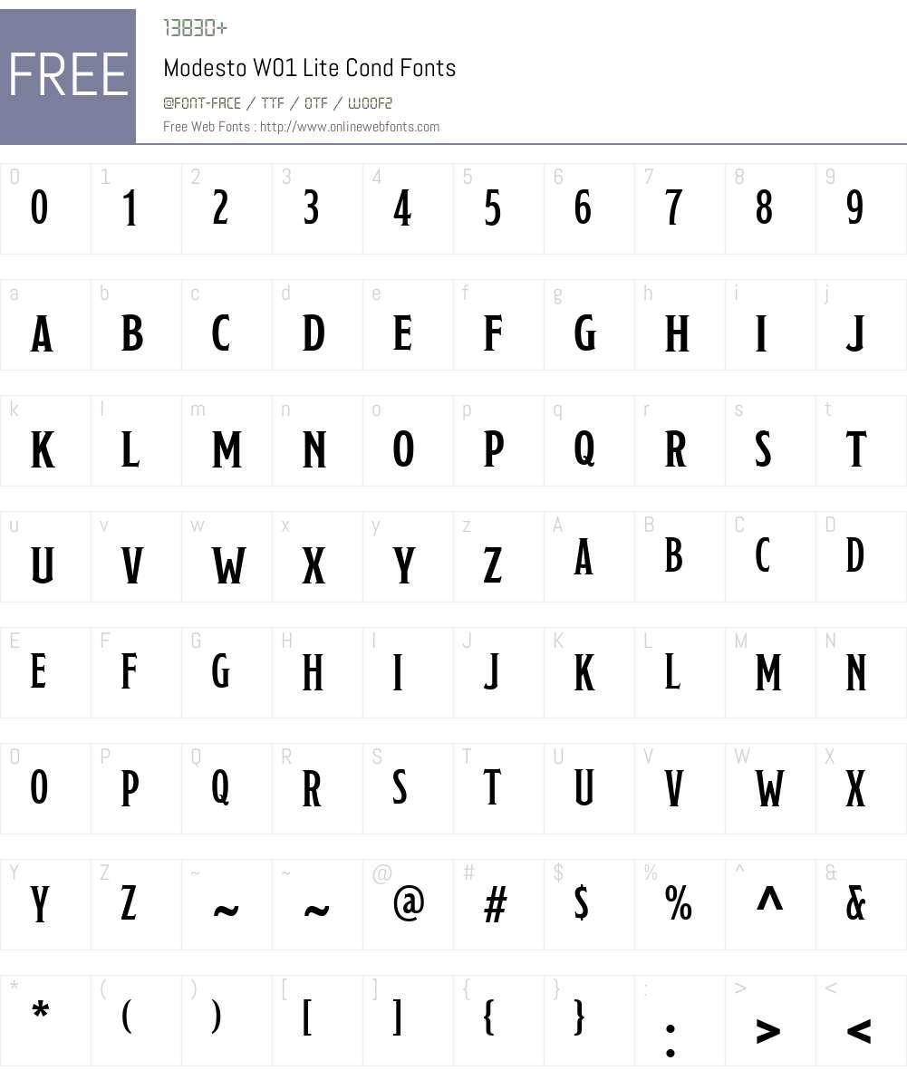 ModestoW01-LiteCond Font Screenshots
