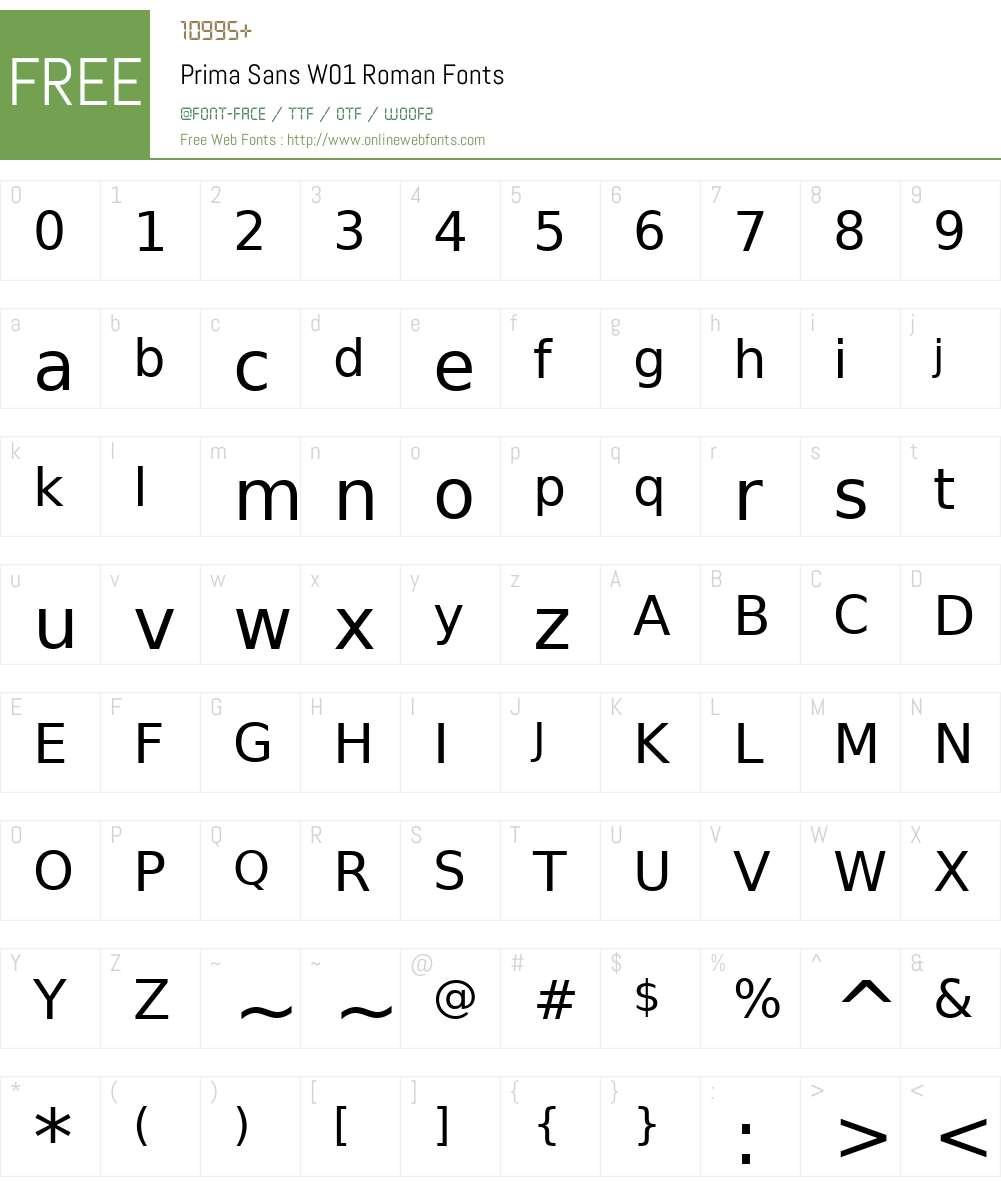 PrimaSansW01-Roman Font Screenshots