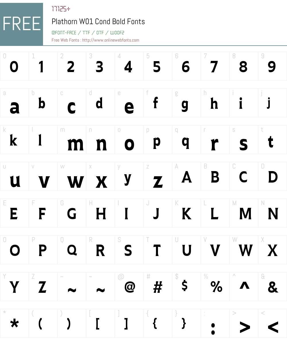 PlathornW01-CondBold Font Screenshots