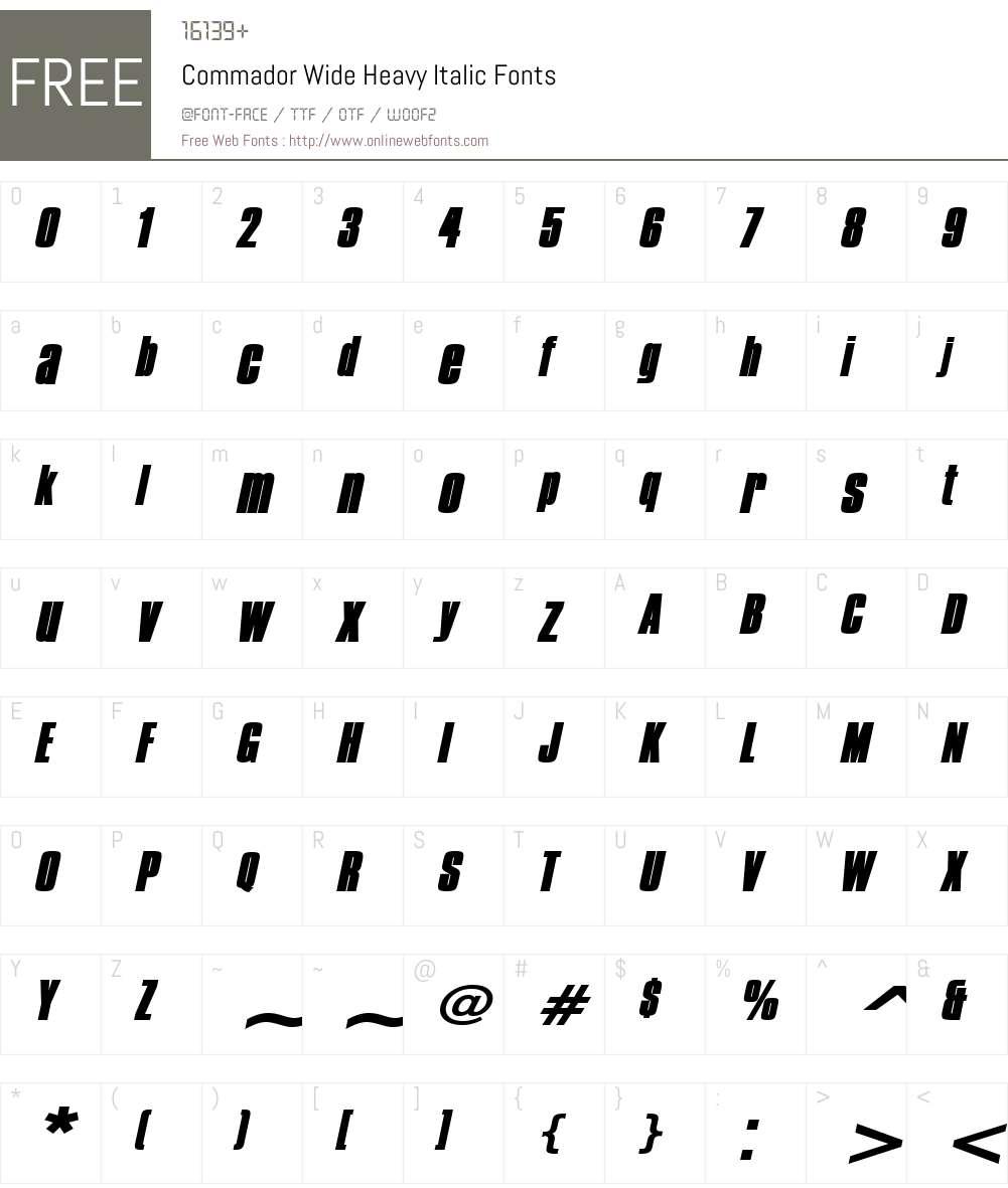 Commador Wide Heavy Font Screenshots