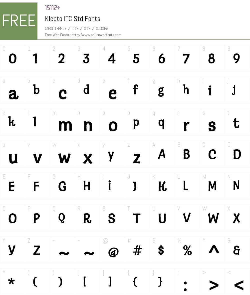 Klepto ITC Std Font Screenshots
