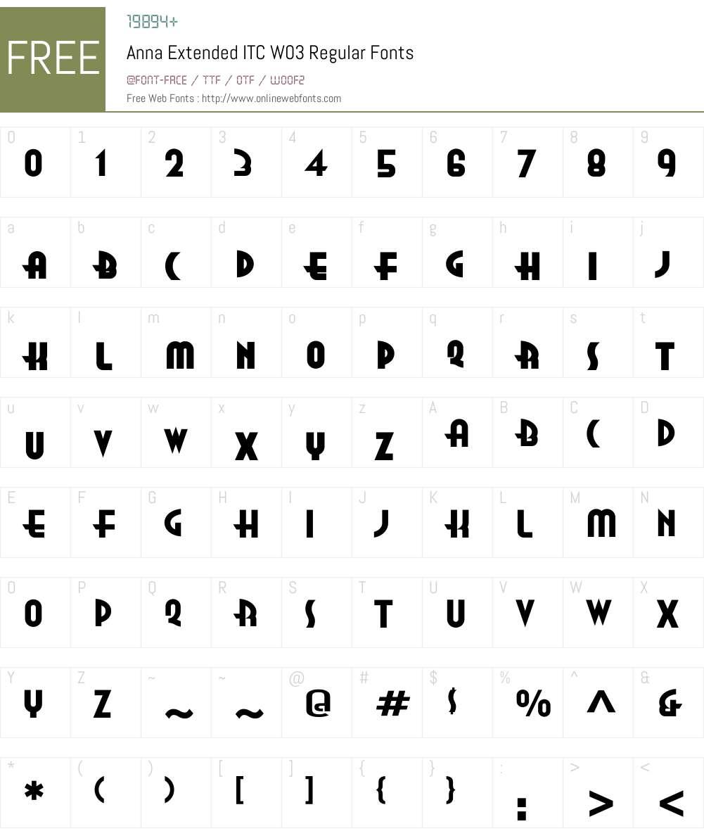 AnnaExtendedITCW03-Regular Font Screenshots