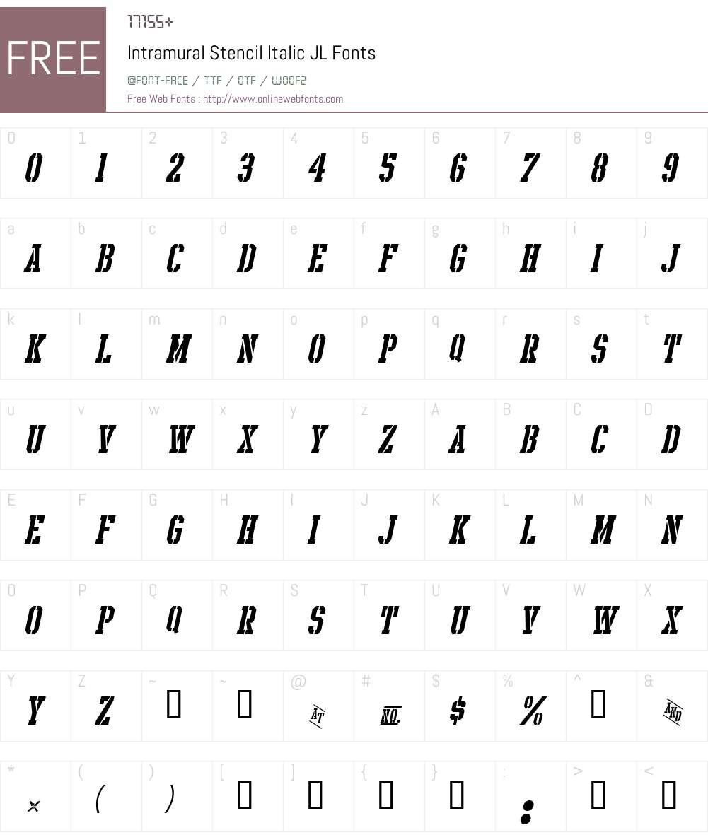 Intramural Stencil Italic JL Font Screenshots