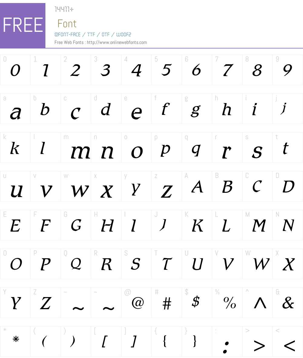 RomicW01-LightItalic Font Screenshots