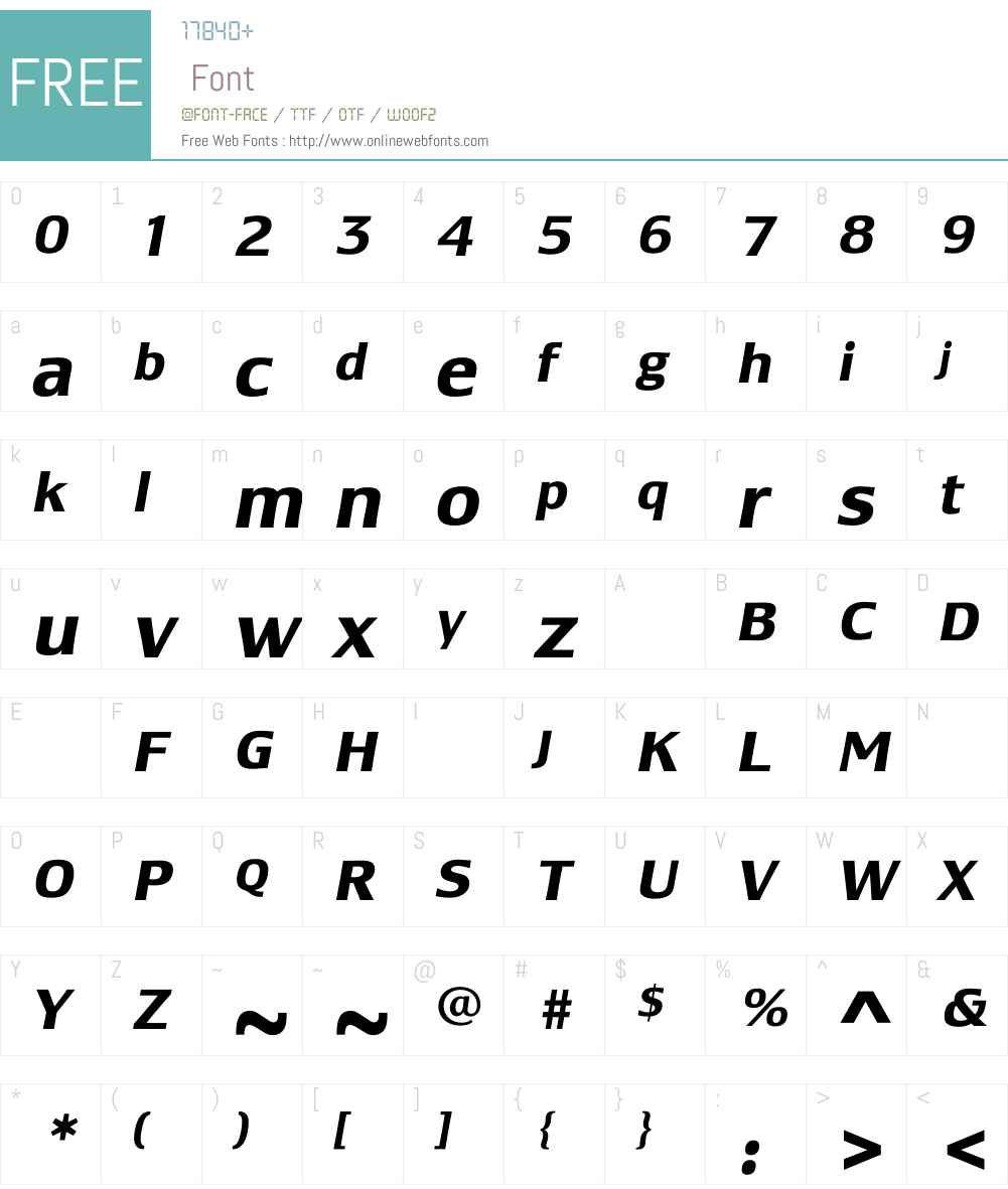 LesmoreBoldItalic Font Screenshots
