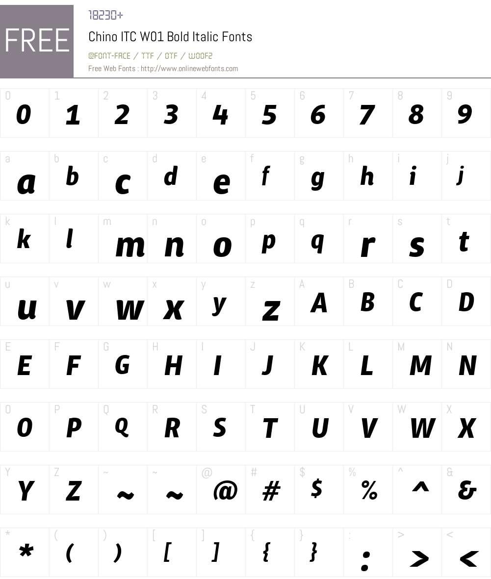 ChinoITCW01-BoldItalic Font Screenshots