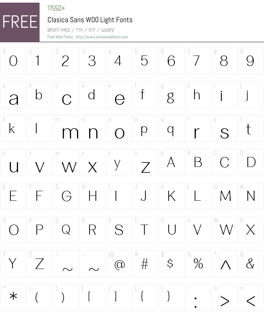 ClasicaSansW00-Light Font Screenshots