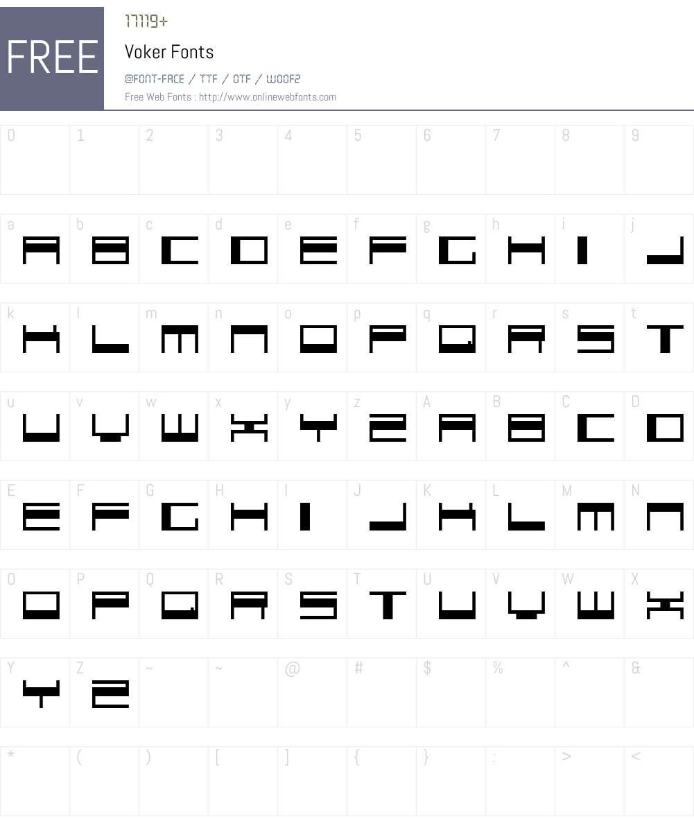 Voker Font Screenshots