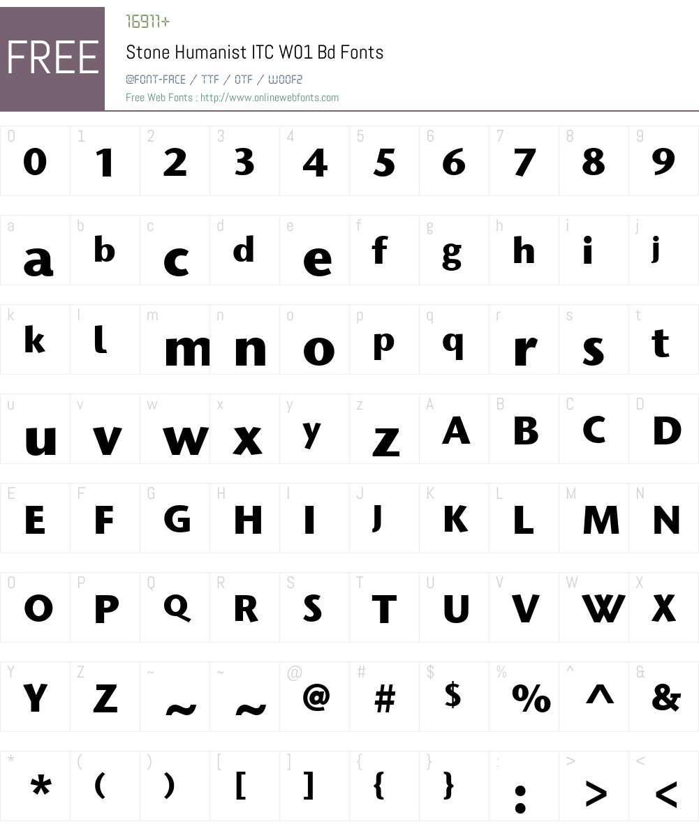 StoneHumanistITCW01-Bd Font Screenshots
