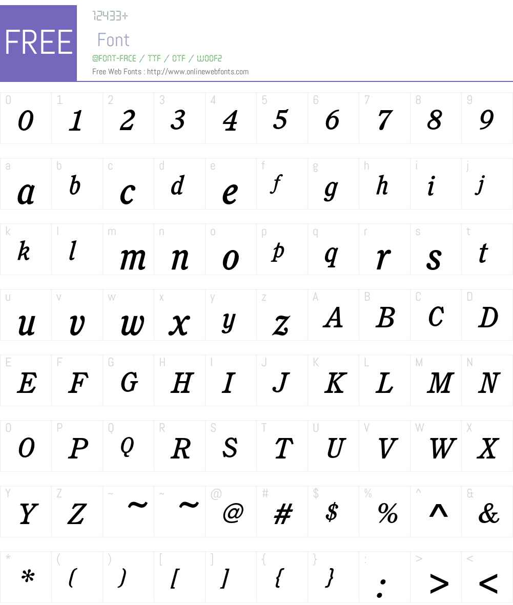 CushingEF-MediumItalic Font Screenshots