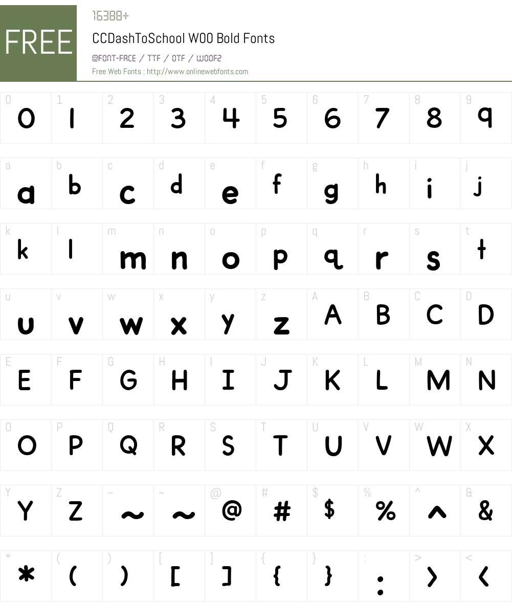 CCDashToSchoolW00-Bold Font Screenshots