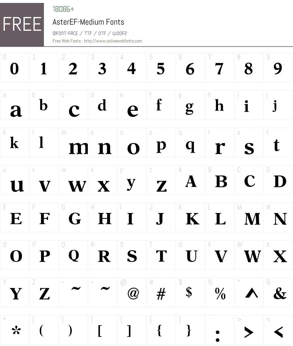 AsterEF Font Screenshots