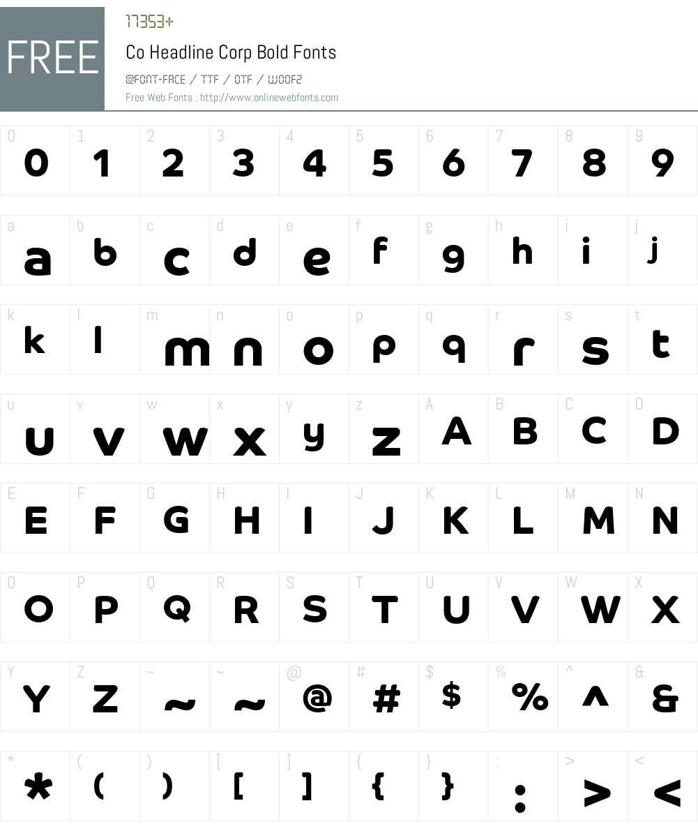 Co Headline Corp Font Screenshots