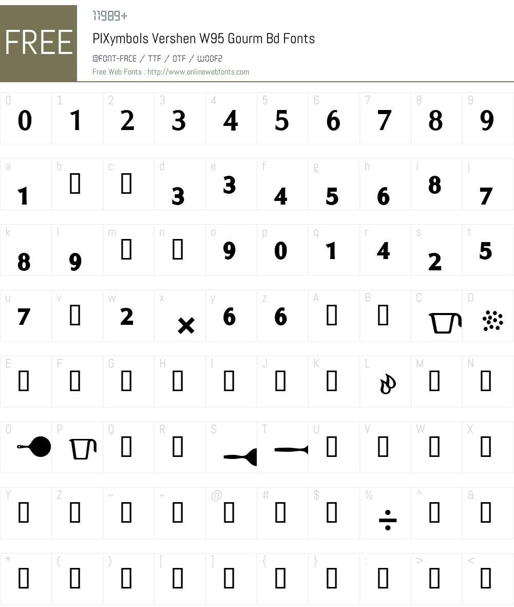 PIXymbolsVershenW95-GourmBd Font Screenshots