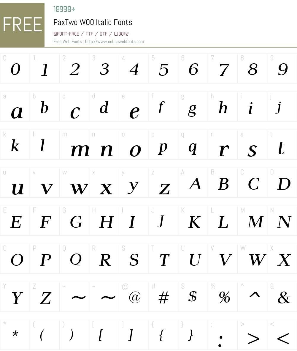 PaxTwoW00-Italic Font Screenshots