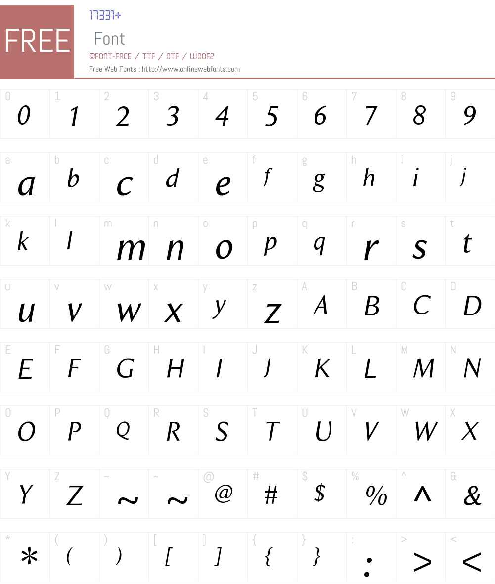 BeaulieuW01-RegularItalic Font Screenshots