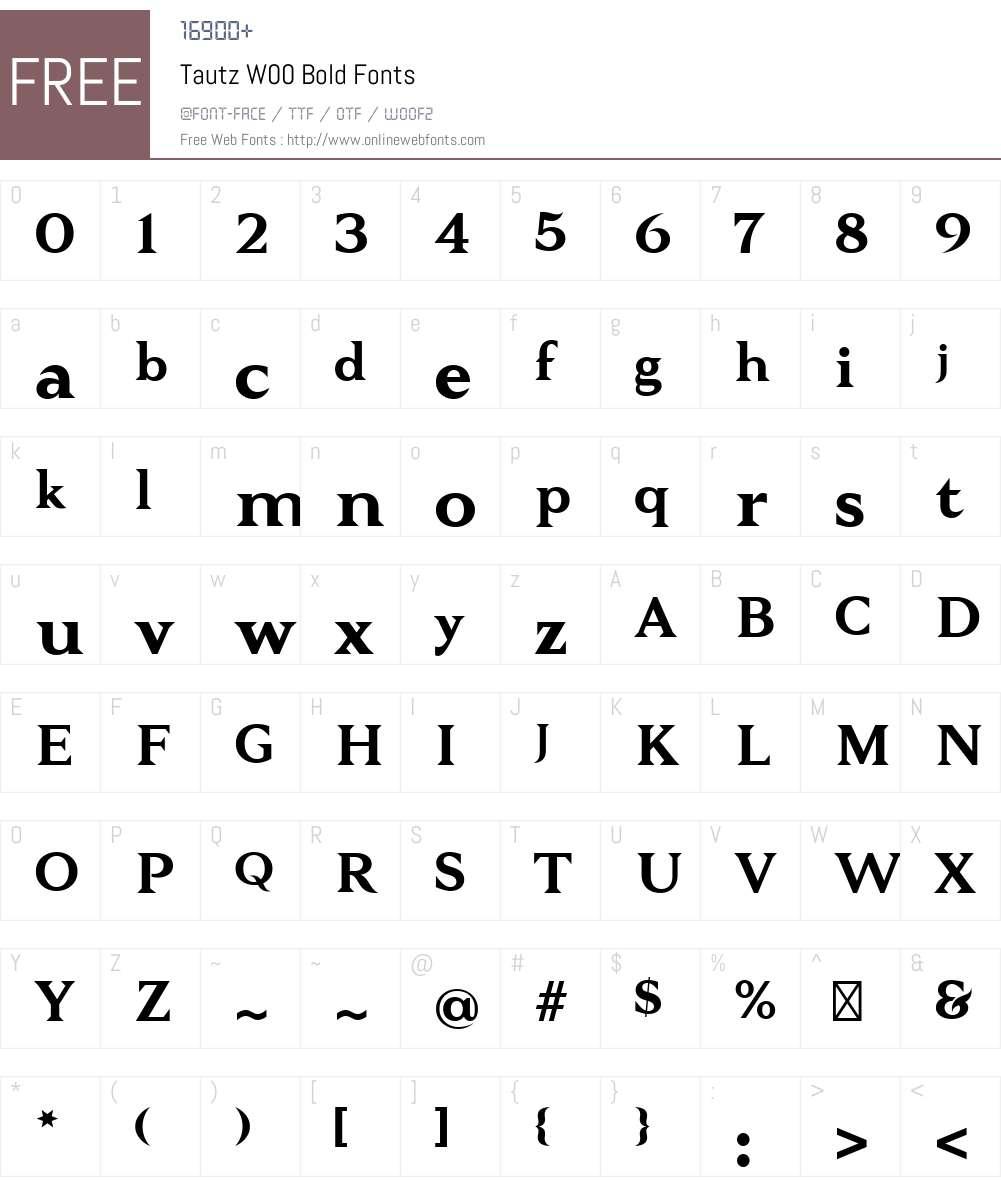 TautzW00-Bold Font Screenshots
