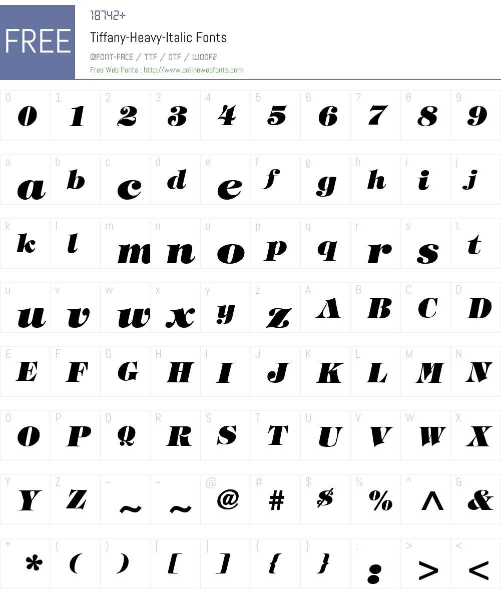 Tiffany-Heavy-Italic Font Screenshots