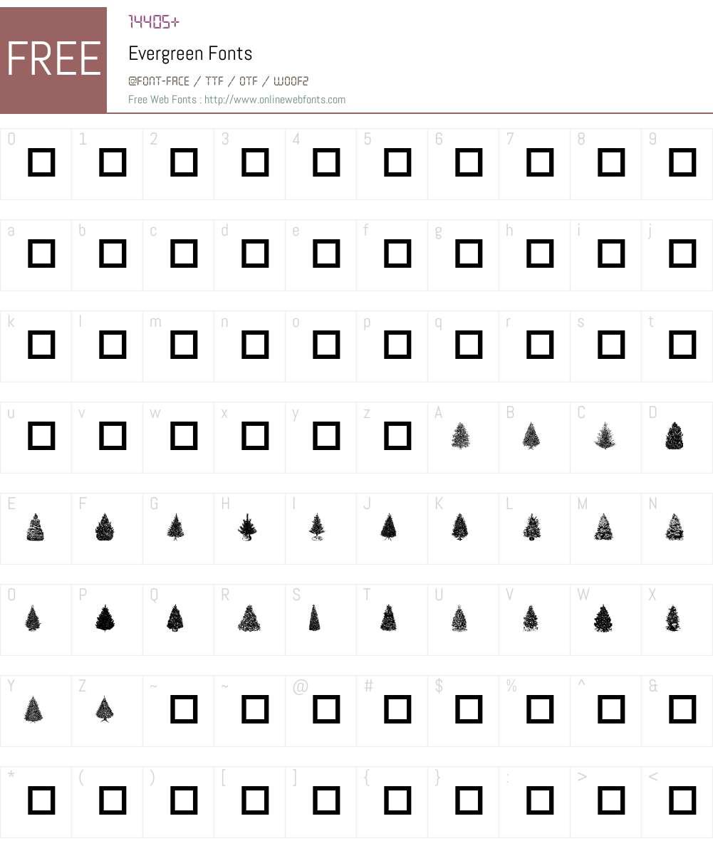 Evergreen Font Screenshots