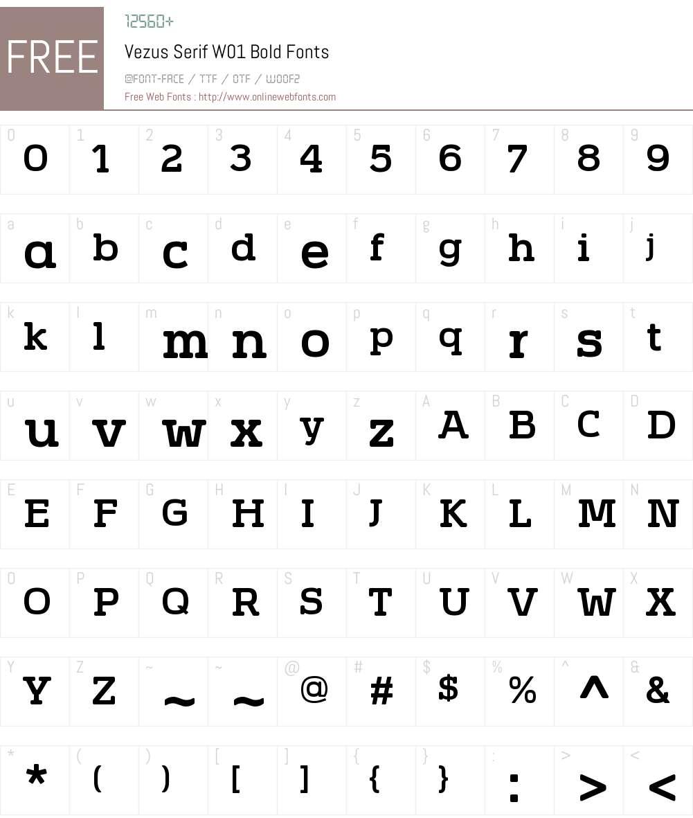 VezusSerifW01-Bold Font Screenshots