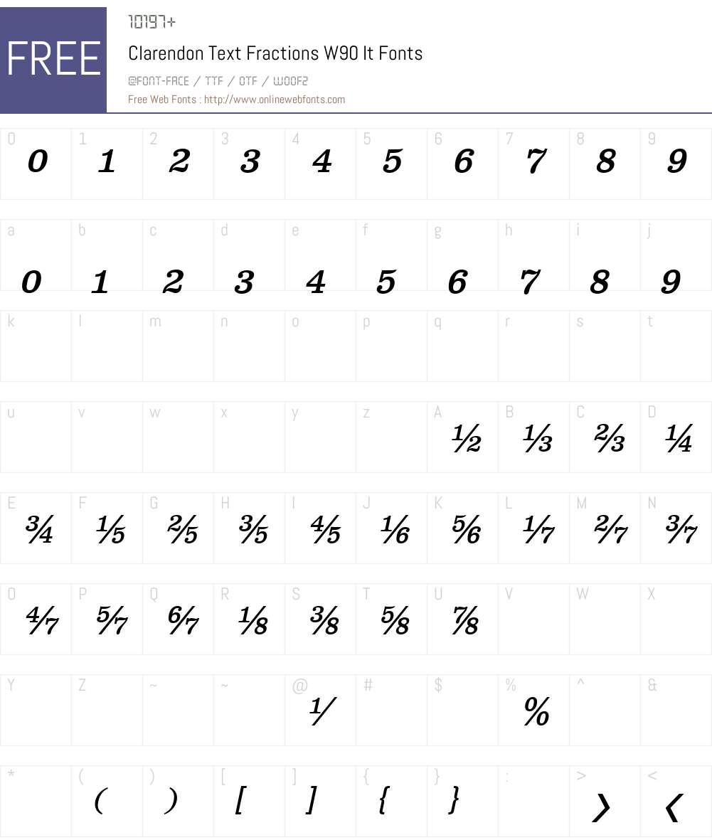 ClarendonTextFractionsW-It Font Screenshots