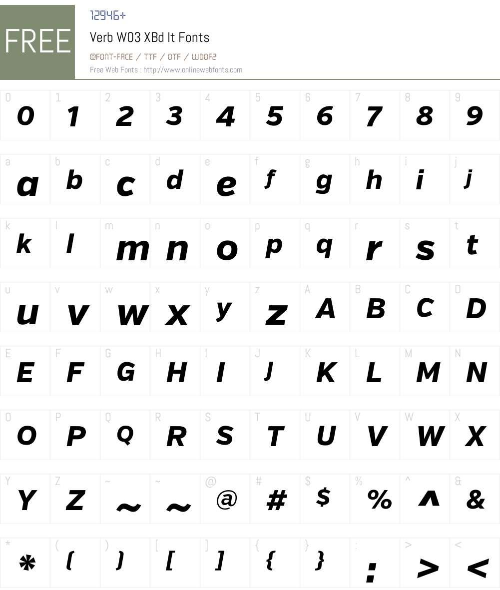 Verb Font Screenshots