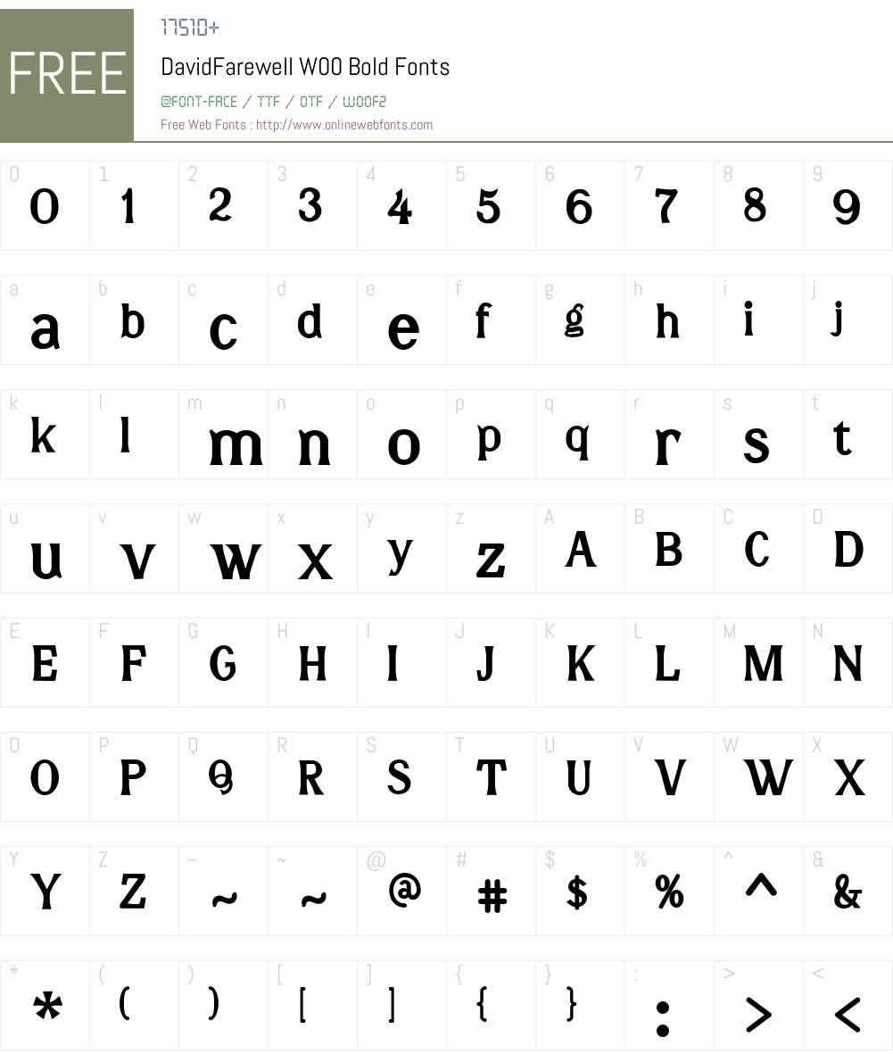 DavidFarewellW00-Bold Font Screenshots