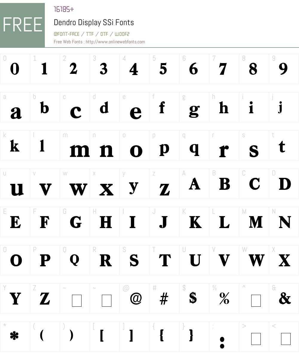 Dendro Display SSi Font Screenshots