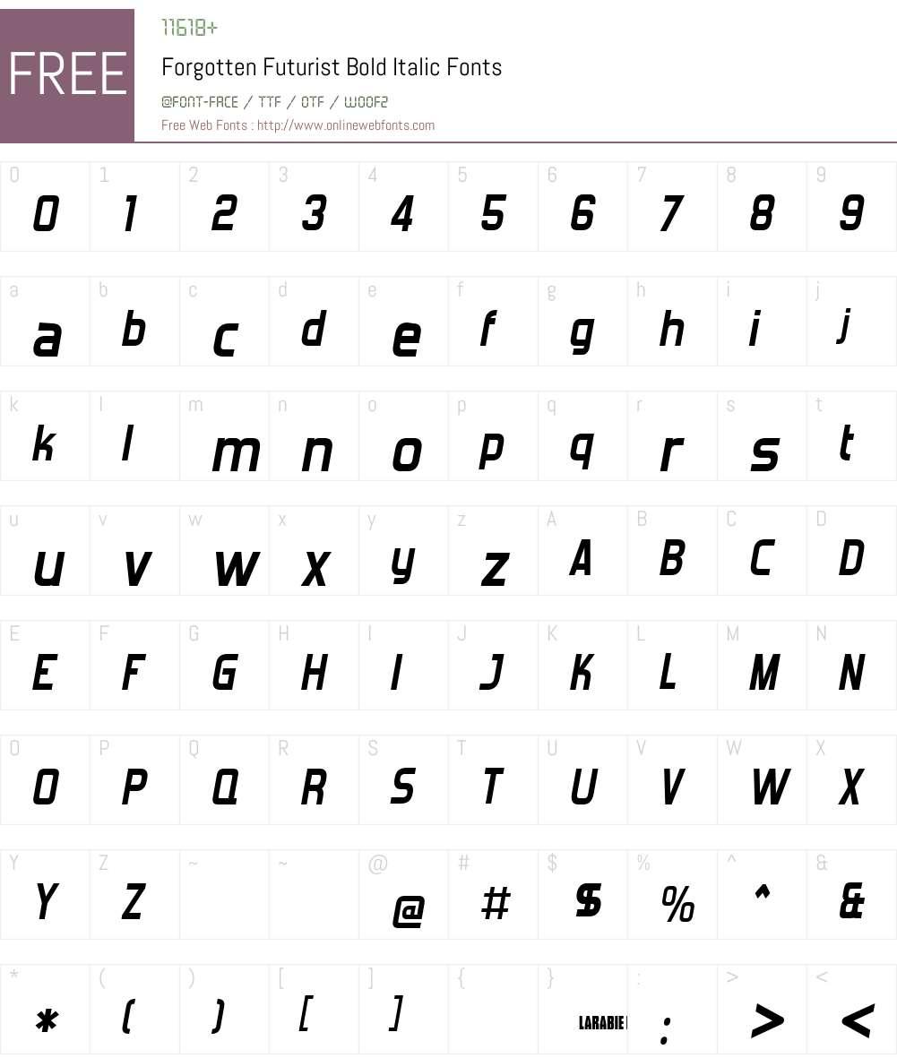 Forgotten Futurist Font Screenshots