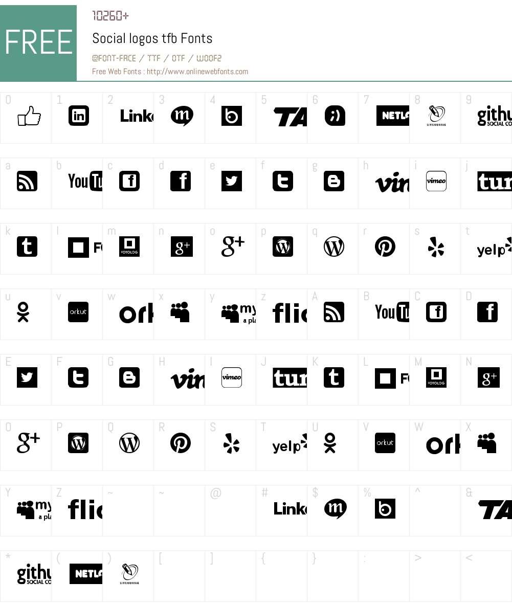 Social logos tfb Font Screenshots