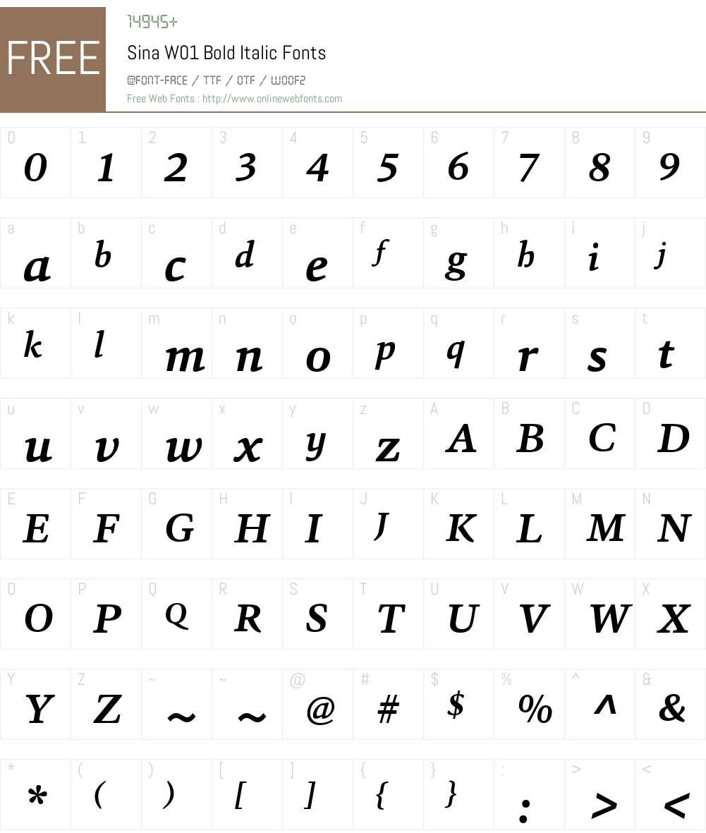 SinaW01-BoldItalic Font Screenshots