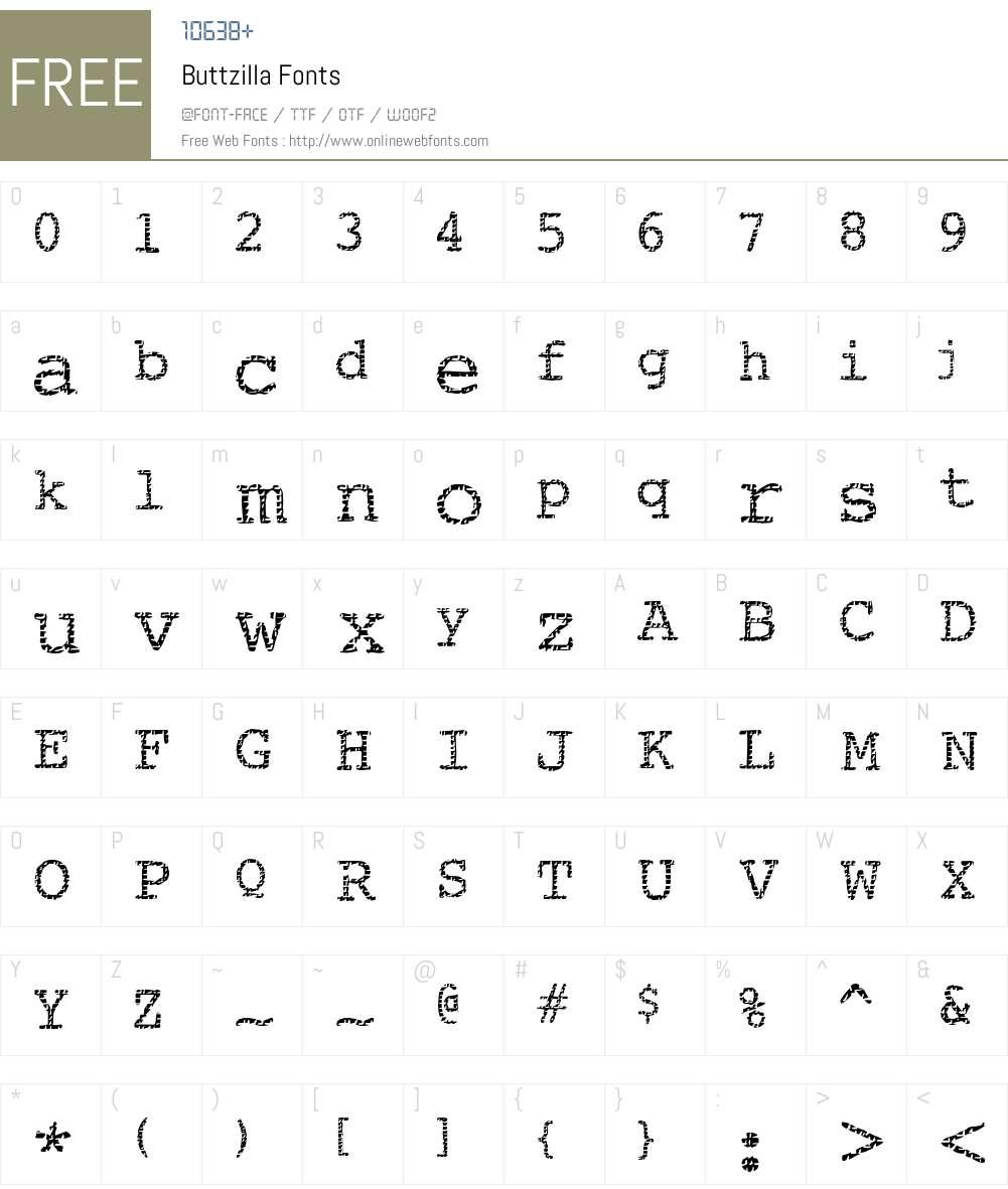 Buttzilla Font Screenshots