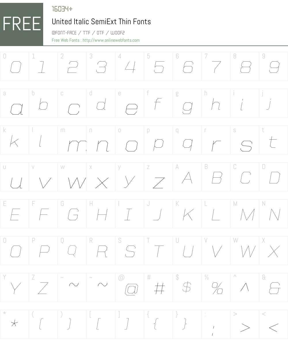 United Italic SemiExt Font Screenshots
