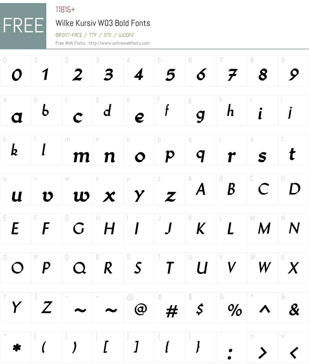 Wilke Kursiv Pro Font Screenshots