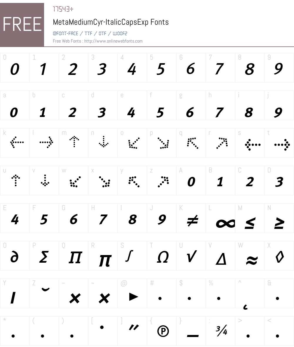 MetaMediumCyr-ItalicCapsExp Font Screenshots