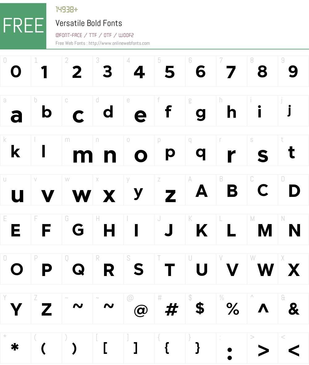 Versatile-Bold Font Screenshots