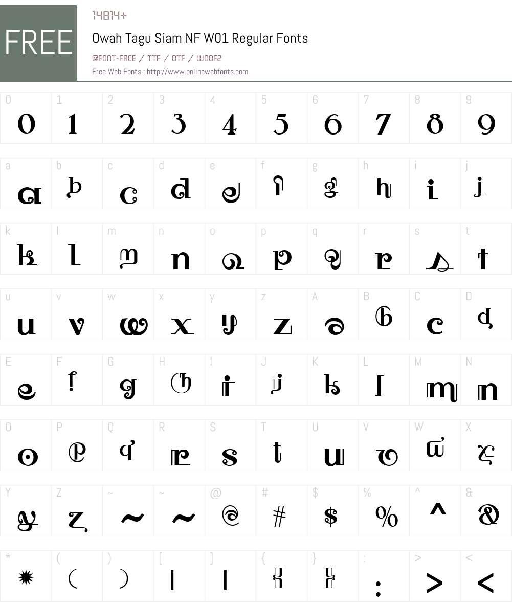 OwahTaguSiamNFW01-Regular Font Screenshots