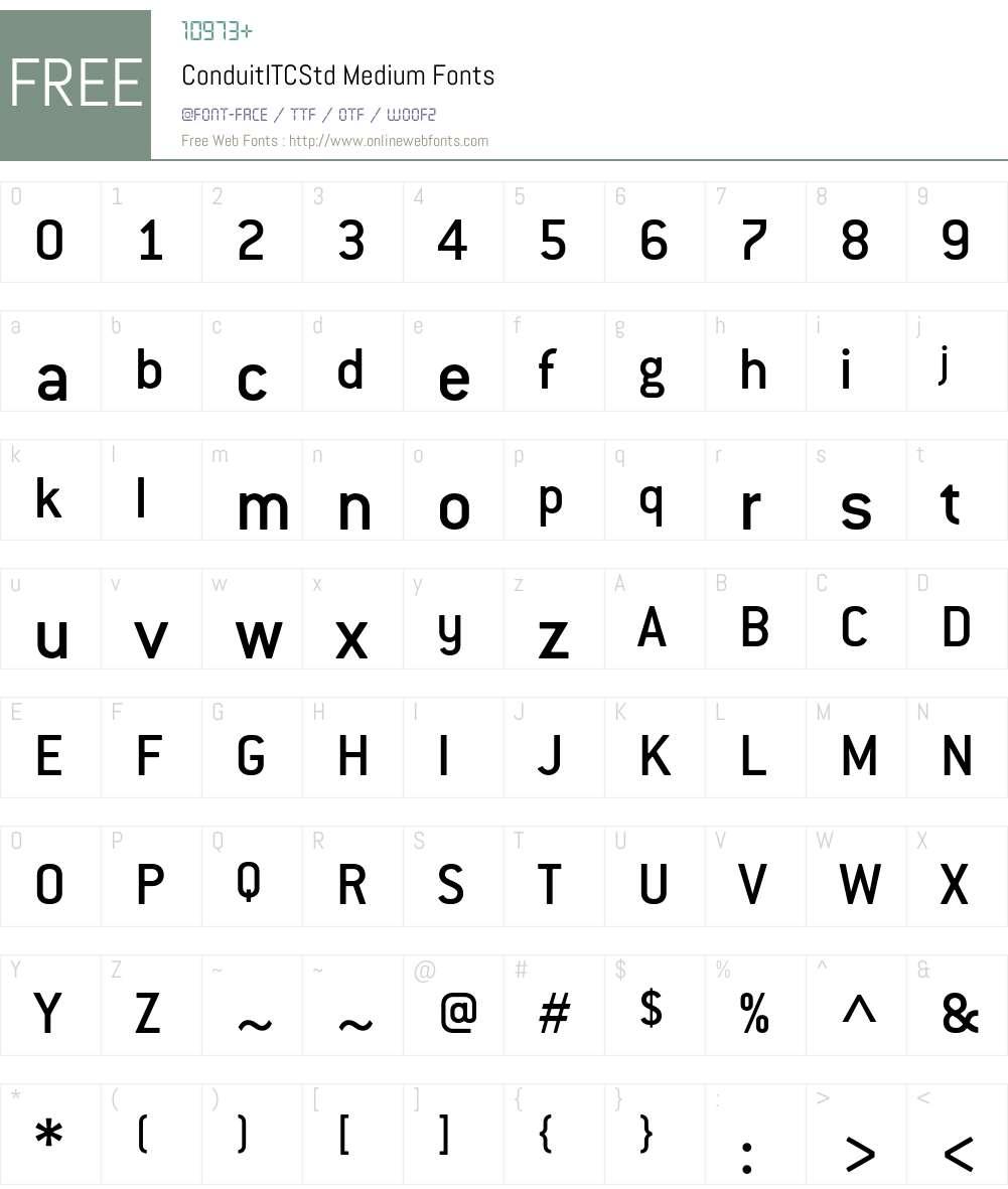 ConduitITCStd Font Screenshots