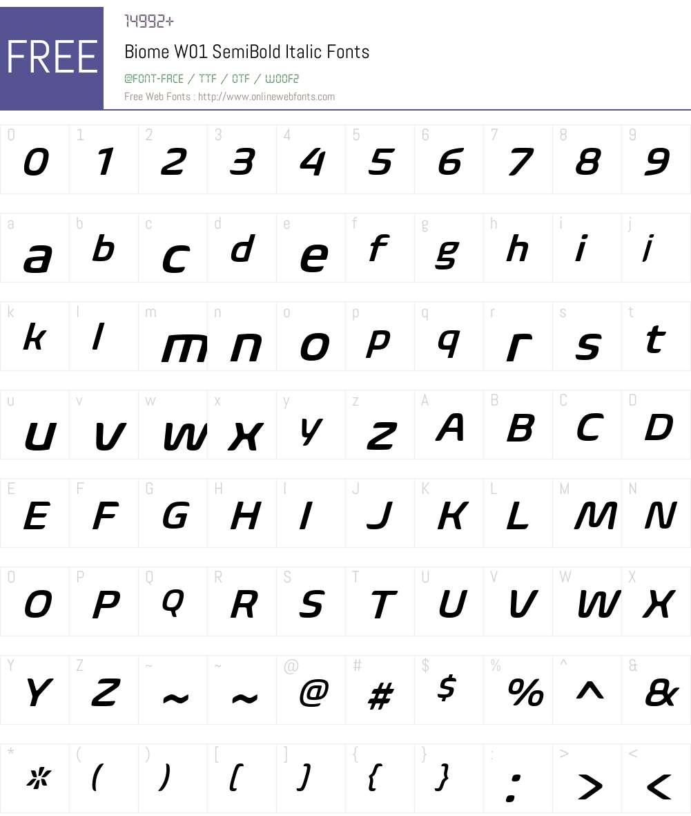 BiomeW01-SemiBoldItalic Font Screenshots