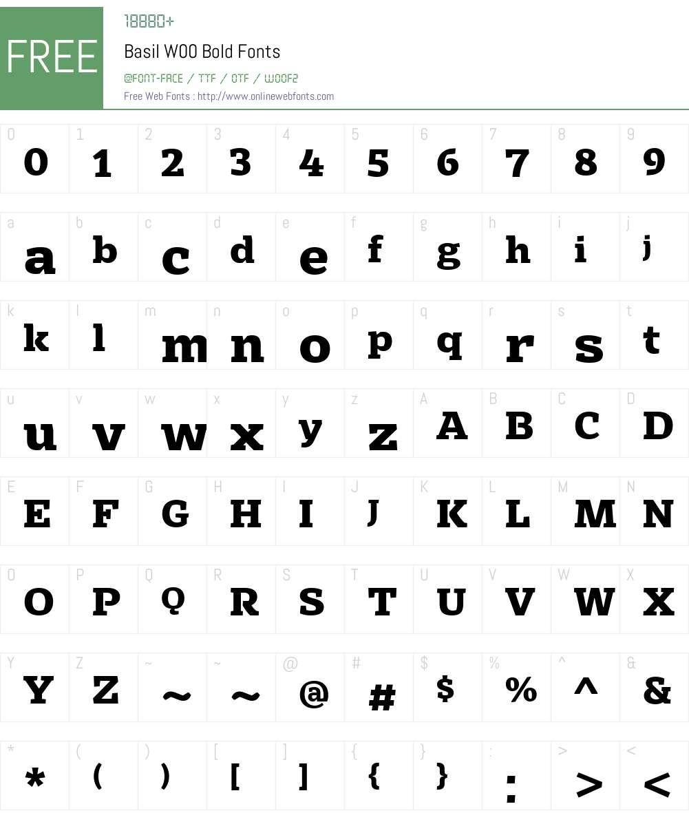 BasilW00-Bold Font Screenshots